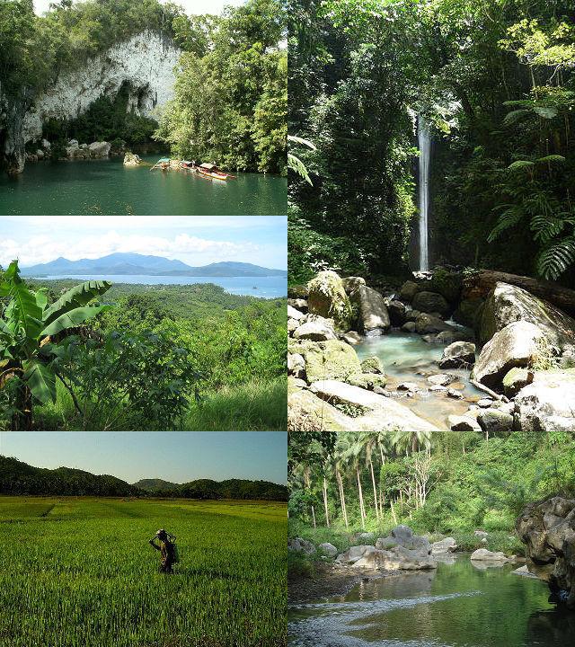 Montagnes, chutes d'eaux, campagnes et rizières aux Philippines.