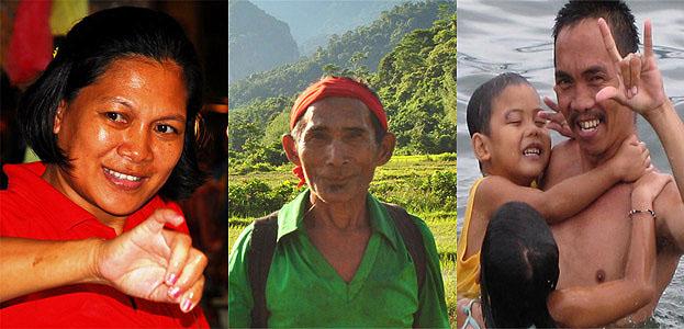 Trois portraits de philippins.